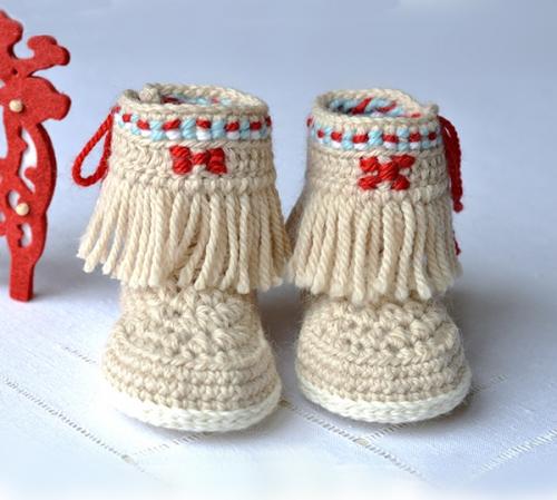 Baby Moccasin Fringe Booties crochet